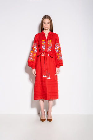 Broken Tiles Midi Dress in Red