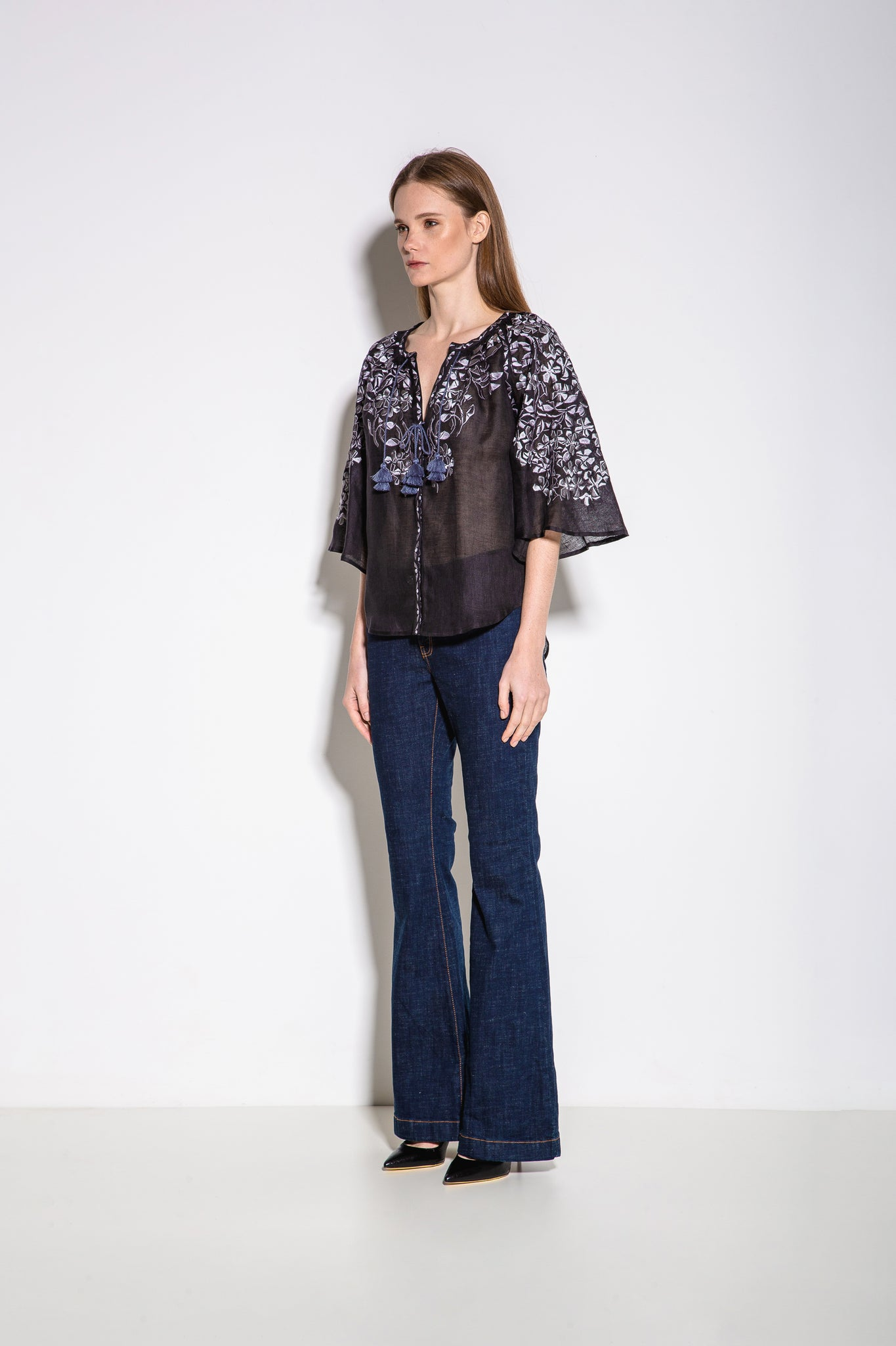 Gaudi Florals Blouse in Black