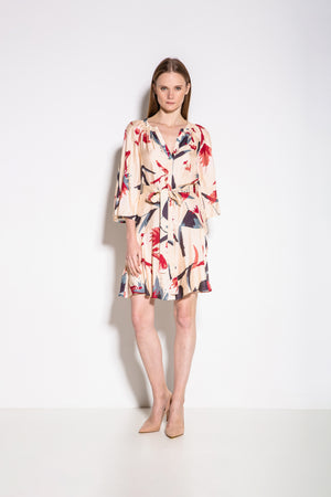 Alex Print Summer Mini Dress in Creme