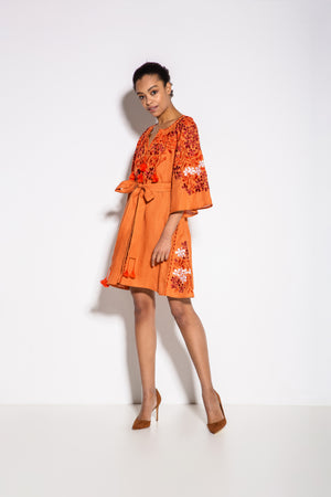 Gaudi Florals Classic Mini Dress in Orange