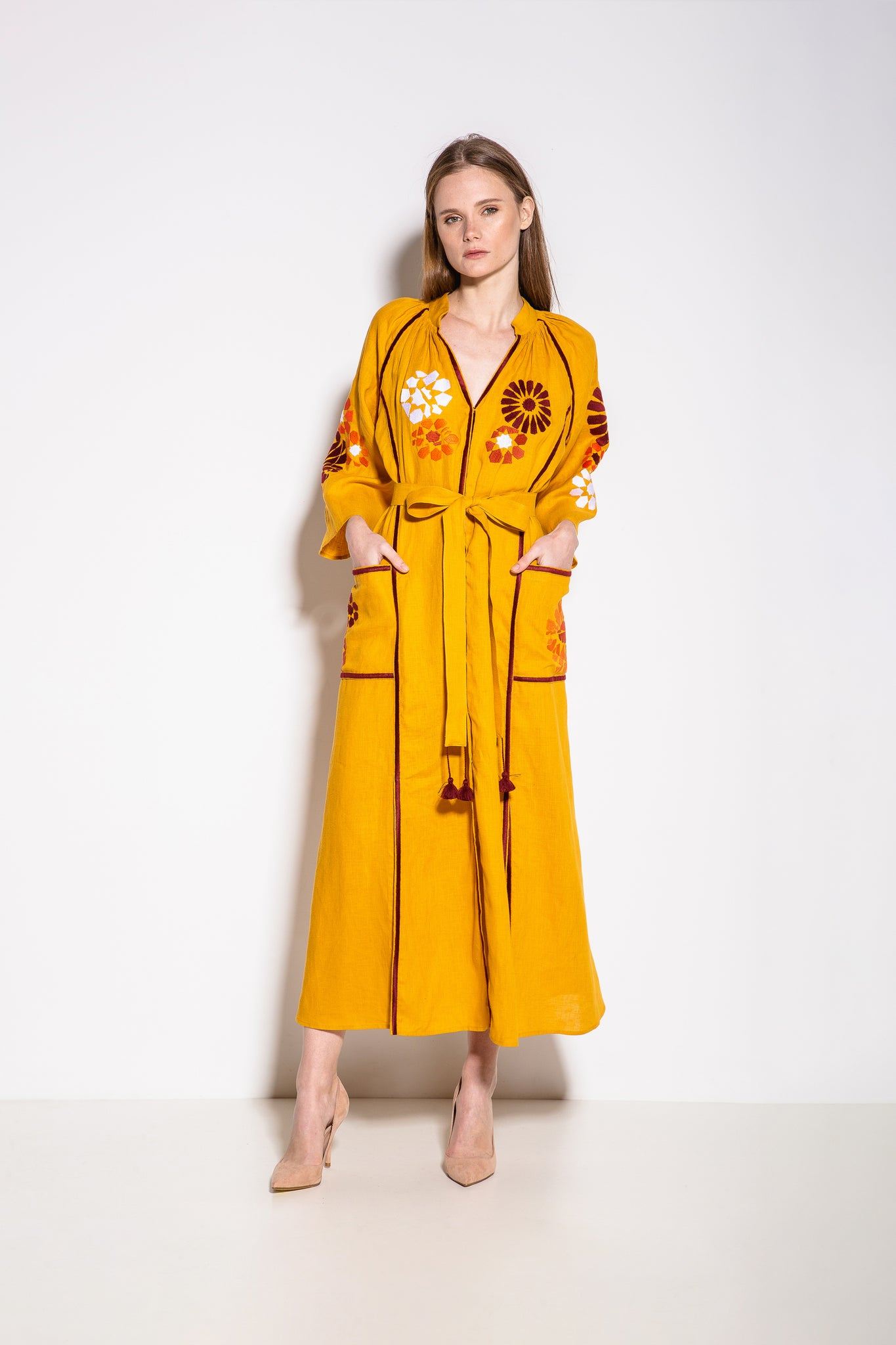 Barcelona Midi Dress in Yellow with Burgundy and White