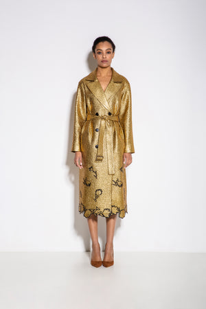 Alex Embroidery Trench Coat in Gold