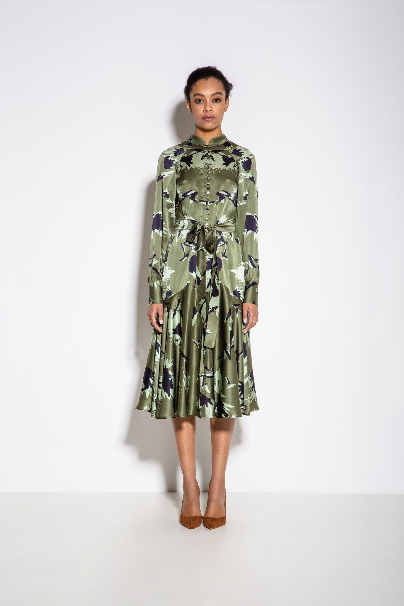 Alex Print Shirt Midi Dress in Green