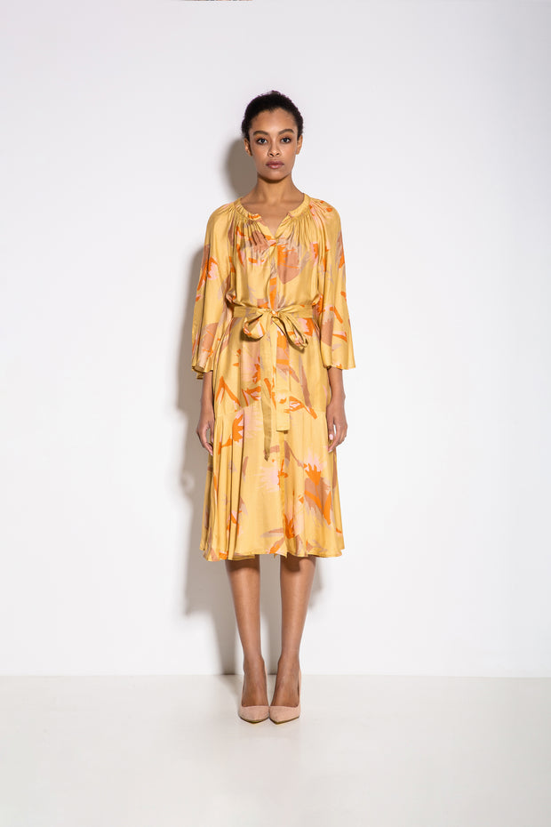 Alex Print Summer Midi Dress in Yellow