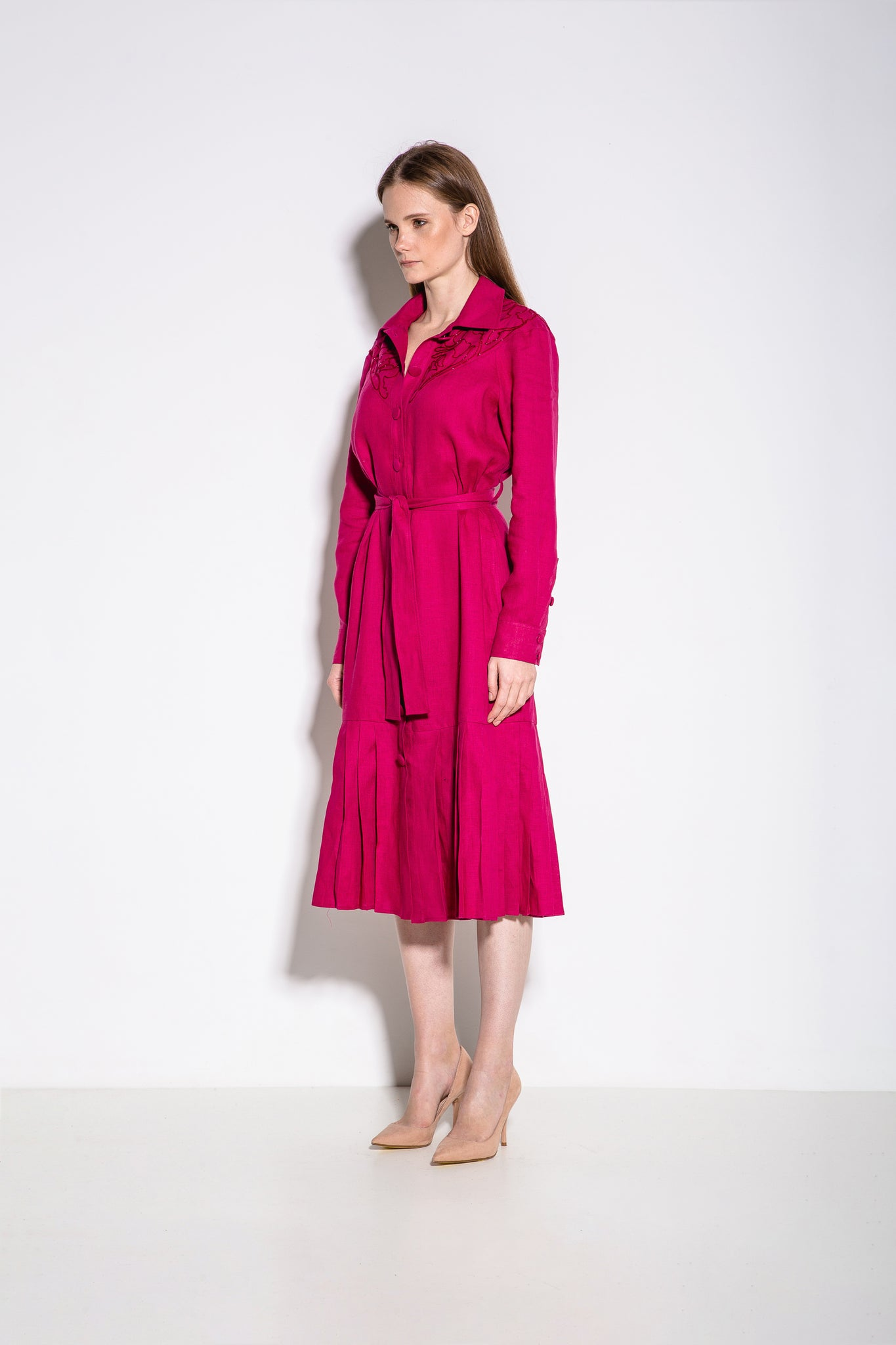 Western Midi Dress in Fuschia