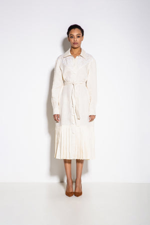 Western Midi Dress in White