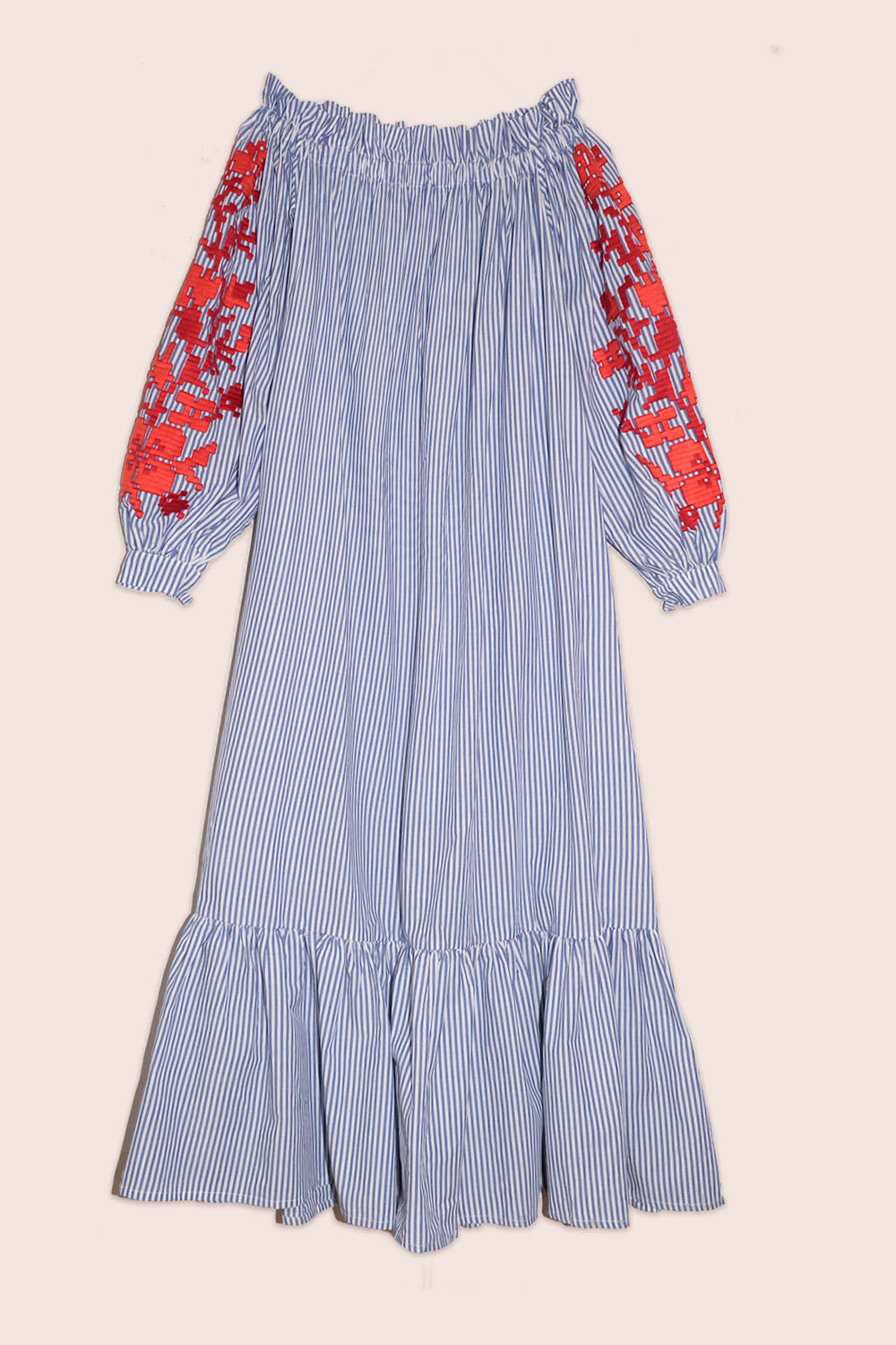 Adele Off-The-Shoulder Maxi Dress in Blue Stripe