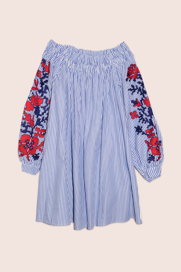 Adele Off-The-Shoulder Mini Dress in Blue Stripe