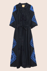 Cecile Maxi Dress in Black and Navy