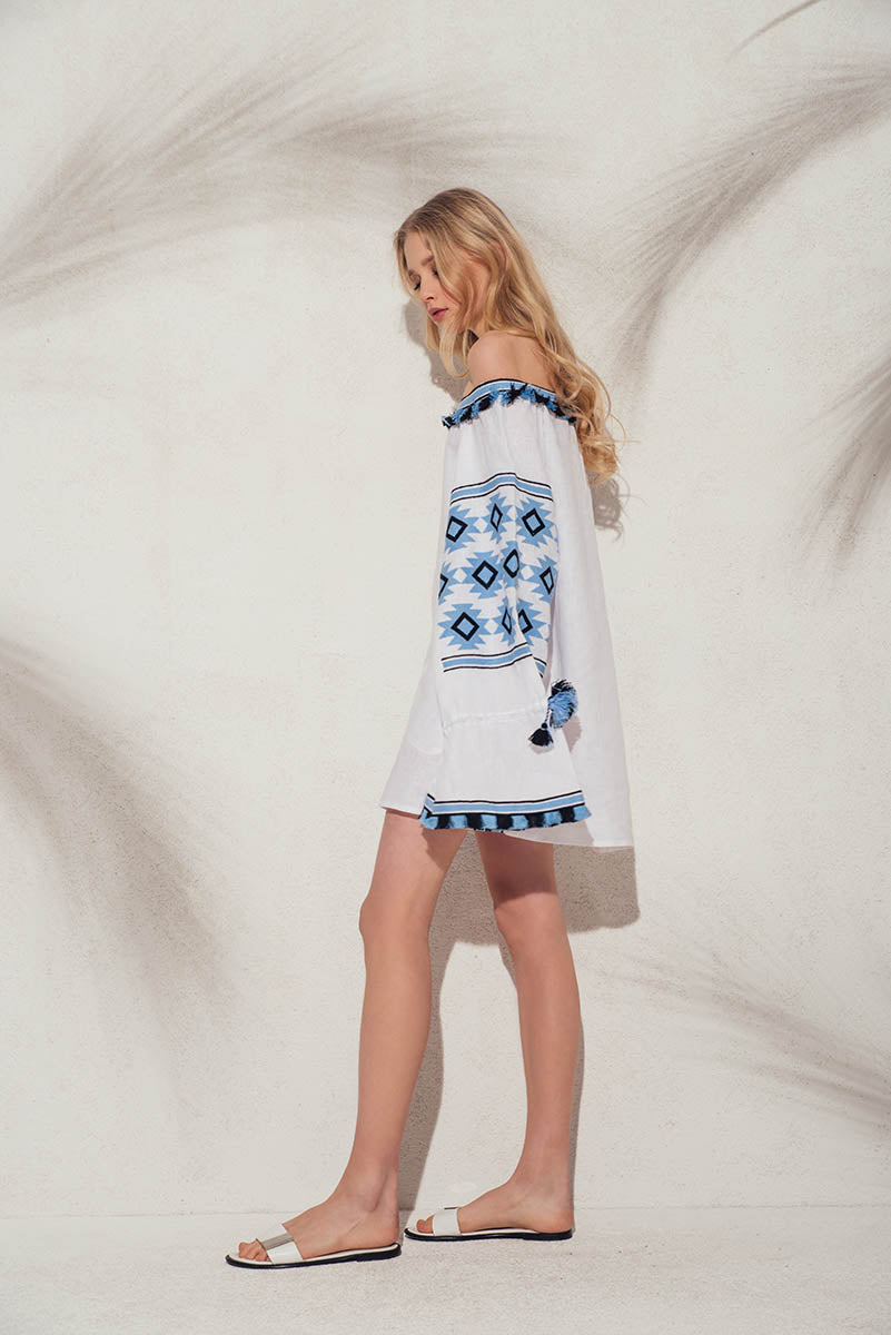 Geometry off-the-shoulder tunic in white - MARCH11 - embroidered linen summer dress - Ukrainian dress - Vita Kin dress - Figue - Yuliya Magdych - Gigi Hadid