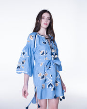Flora Mini Dress in Sky Blue and Beige