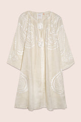 Ece Mini Dress in Creme with White