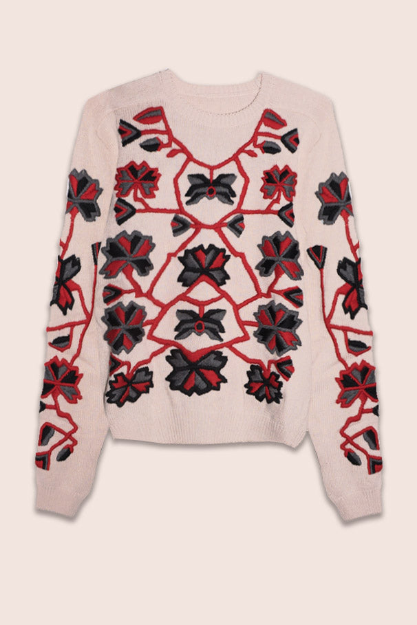 LIMITED EDITION Winter Garden Hand-Embroidered Sweater in Off-White