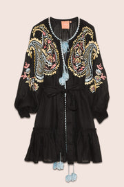 Ece Mini Dress in Black with Multicolor Embroidery