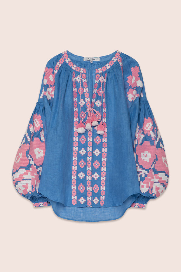 Flower Pixel Blouse in Blue