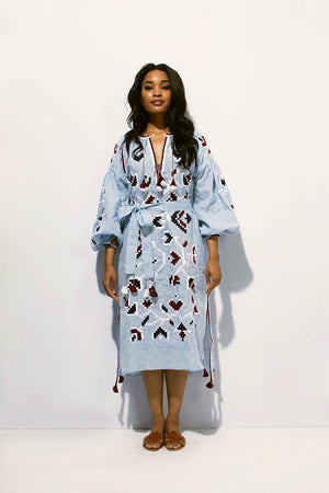 Flora Midi Dress in Sky Blue and Burgundy