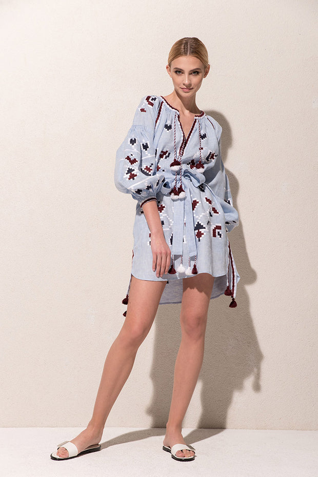 Flora Mini Dress in Sky Blue and Burgundy