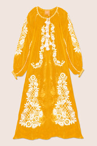 Flower Net Maxi Dress in Yellow with White and Gold