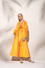 Flower Pixel maxi dress in yellow - MARCH11 - embroidered linen summer dress - Ukrainian dress - Vita Kin dress - Figue - Yuliya Magdych - Gigi Hadid