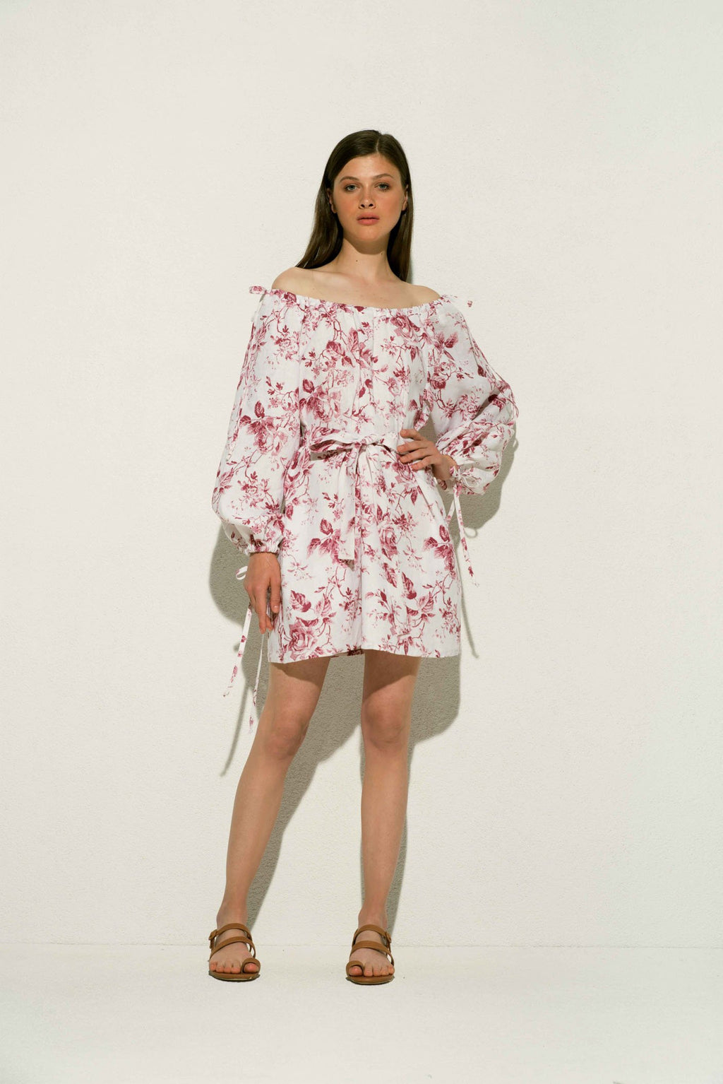 French Rose Linen Mini Dress