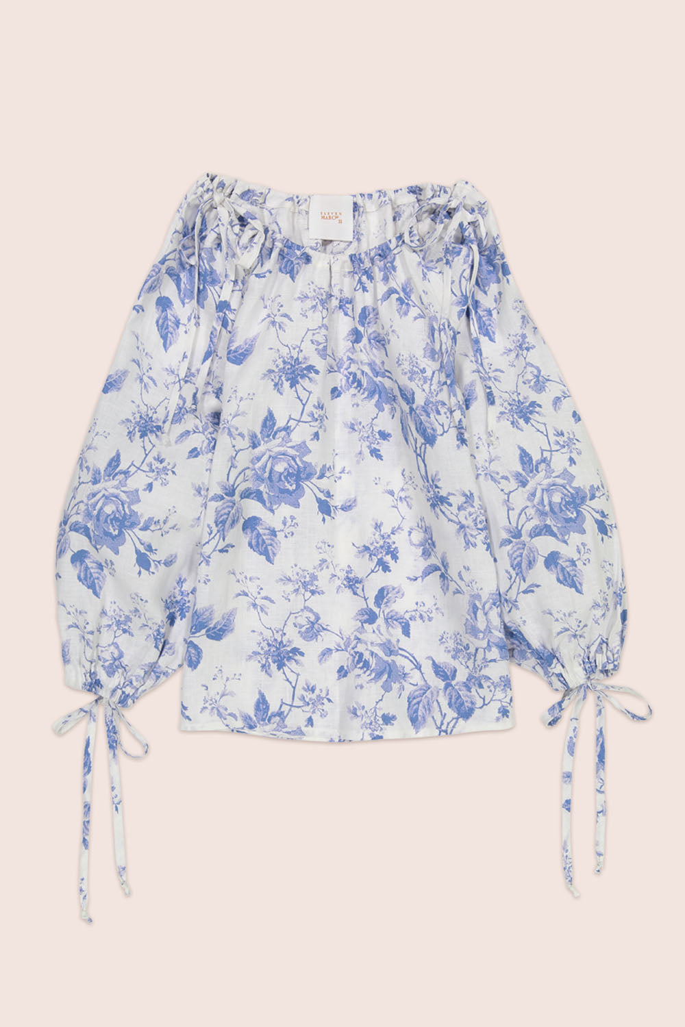 French Rose Blouse in White with Blue