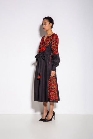 Gaudi Florals Classic Midi Dress in Black