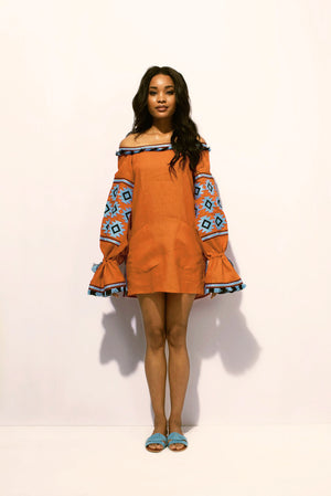 Geometry Off-the-shoulder Tunic in Orange