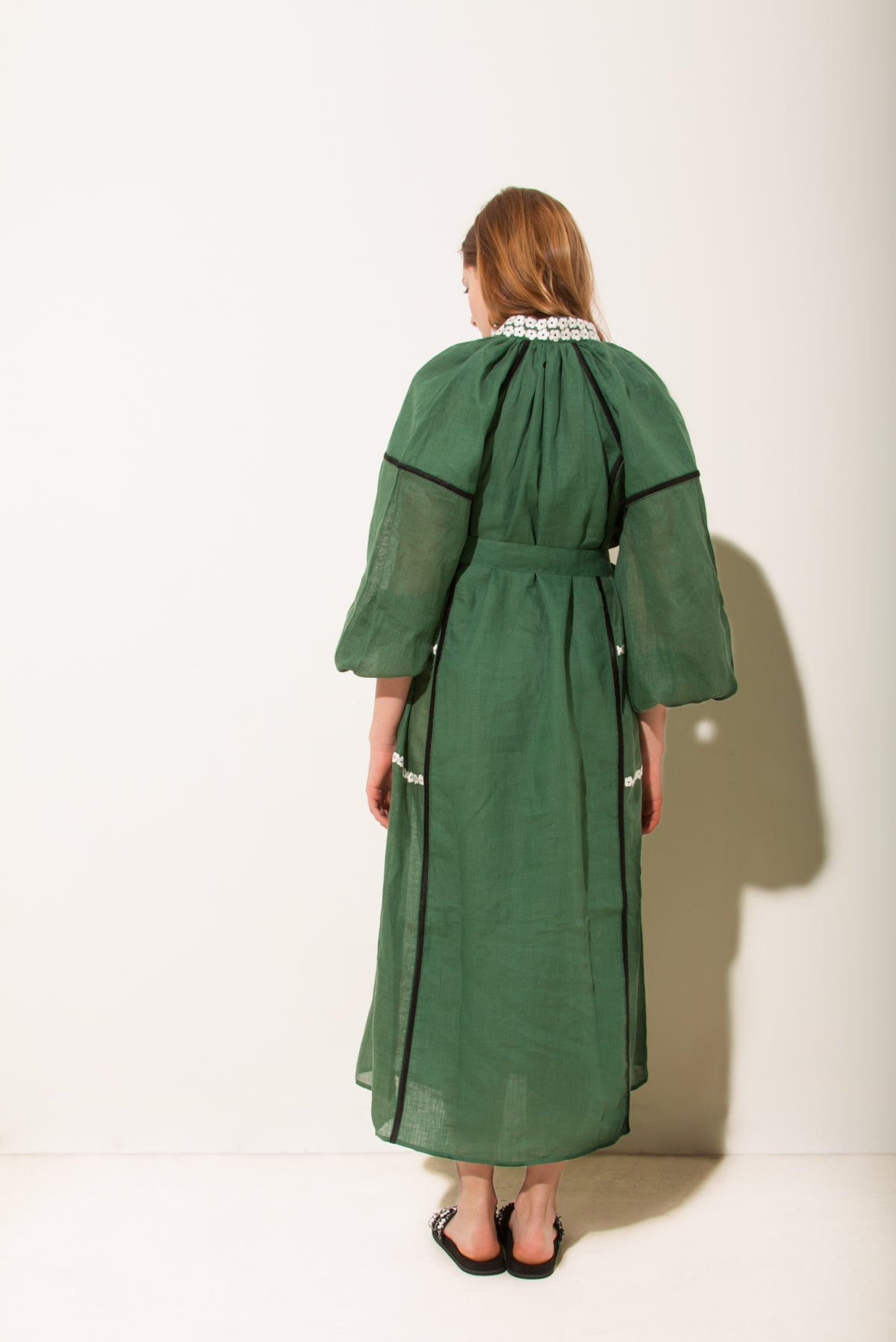 Grace Midi Dress in Green with White