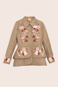 Laila Short Quilted Jacket in Creme