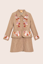 Laila Long Quilted Jacket in Beige