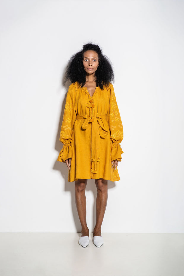 Laila Mini Dress in Yellow
