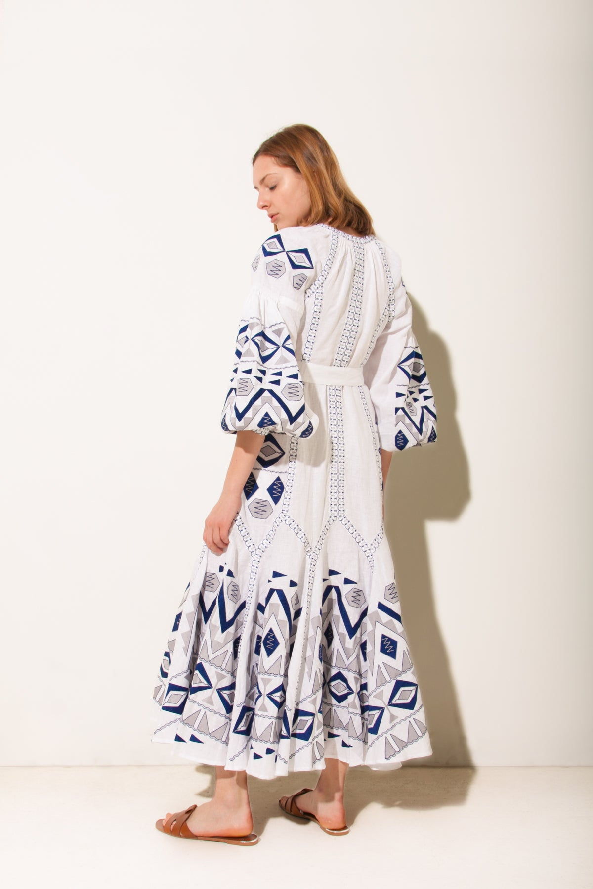 Kilim Flared Maxi Dress in White