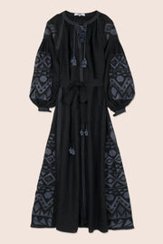 Kilim Maxi Dress in Black with Gray