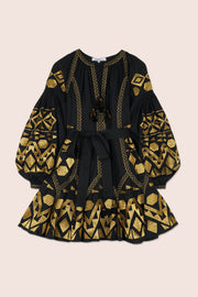 Kilim Flared Mini Dress in Black with Gold