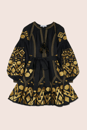 Kilim Mini Flared Dress in Black with Gold