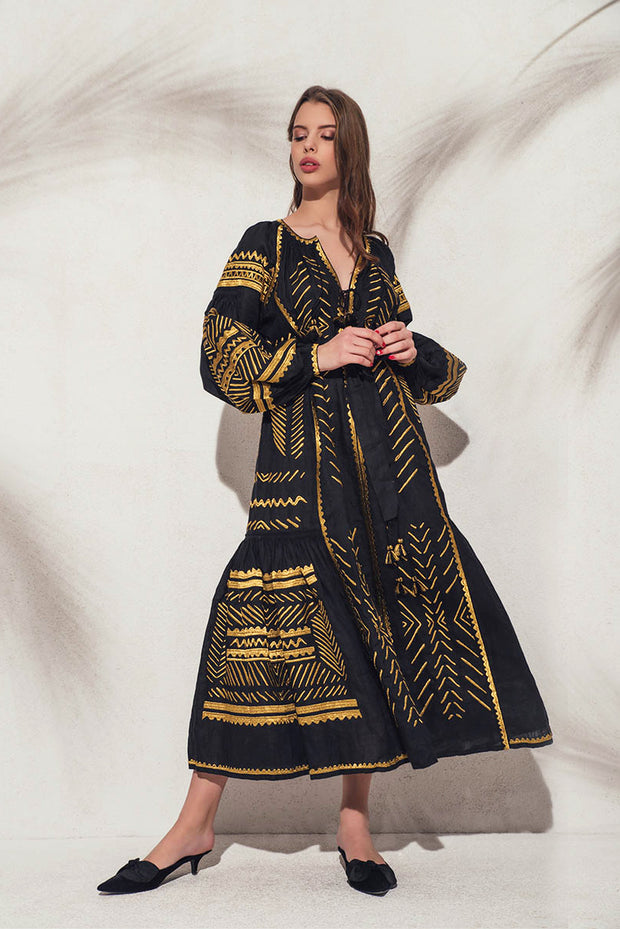 Namibia Maxi Dress in Black and Gold