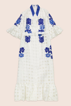 Nilofar Maxi Wrap Dress in White with Blue