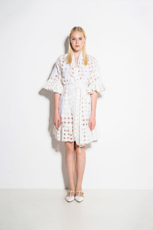 Nilofar Mini Wrap Dress in White