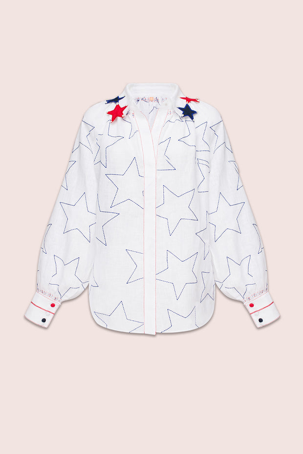 Stars And Stripes Blouse in White with Accented Collar