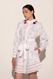 Stars And Stripes Flared Mini Dress in White with Accented Collar