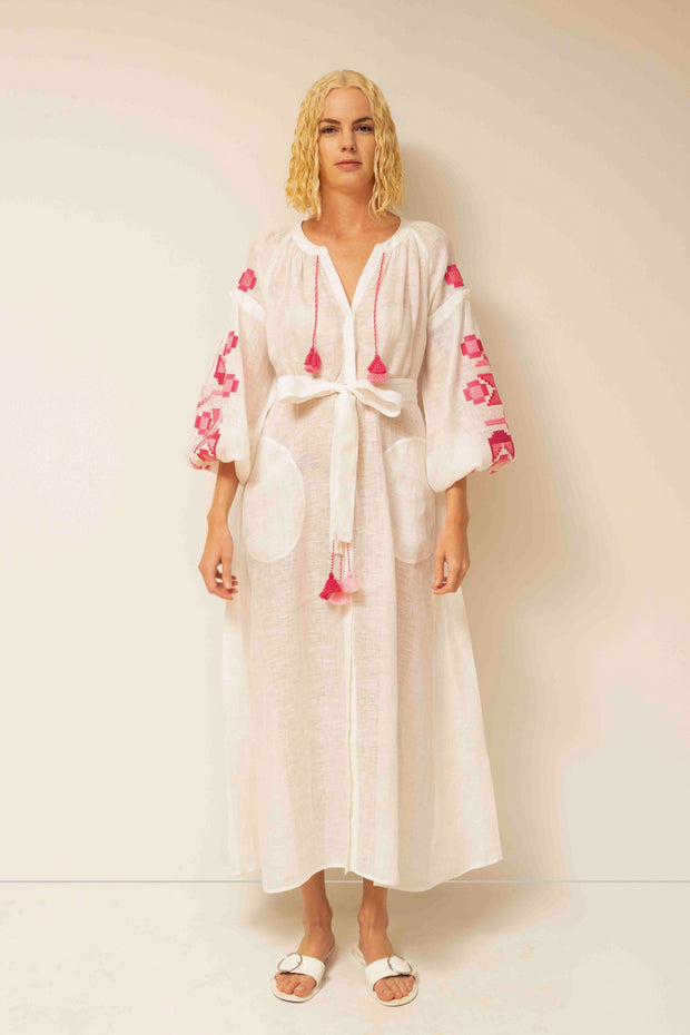 Zarina Maxi Dress in White with Pink