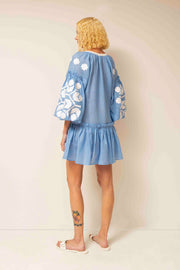 Zarina Flared Mini Dress in Blue