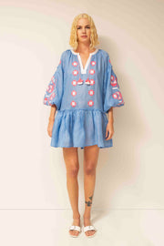 Zarina Flared Mini Dress in Blue with Pink
