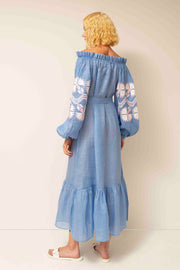 Yalta Off-The-Shoulder Flared Maxi Dress in Blue