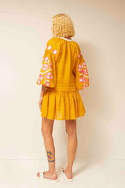 Zarina Flared Mini Dress in Yellow