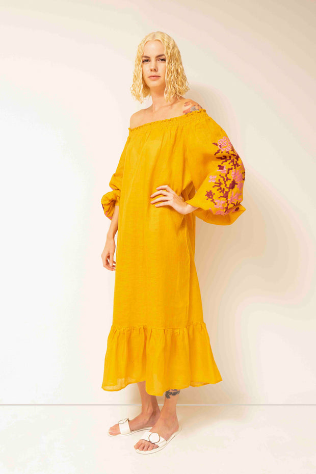 Adele Off-The-Shoulder Maxi Dress in Yellow