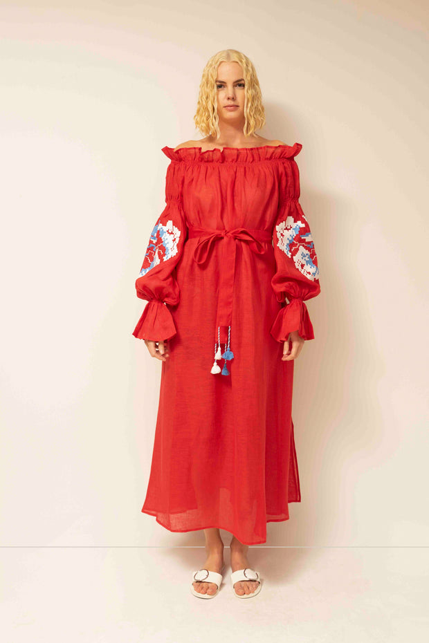 Rose Off-The-Shoulder Maxi Dress in Red