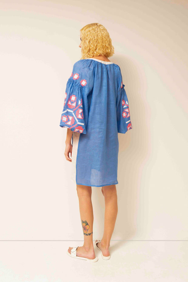Zarina Tunic in Bright Blue and White