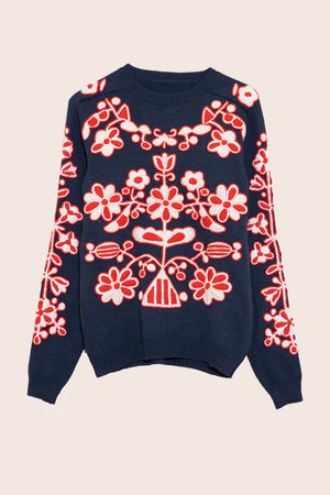 LIMITED EDITION Sunflower Hand-Embroidered Sweater in Navy