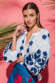 Zarina Blouse in White with Blue